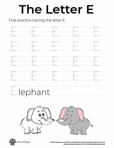 Practice Tracing the Letter E